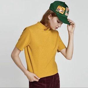 Zara mustard mock neck ribbed crop top.